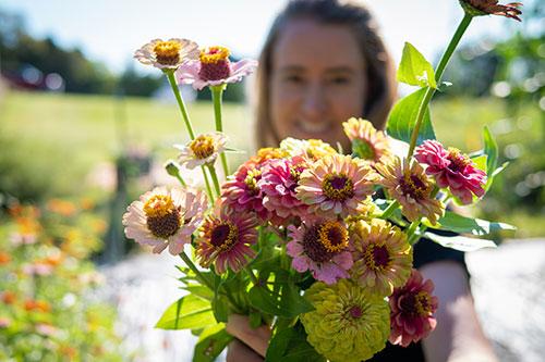 Farmer with Flowers