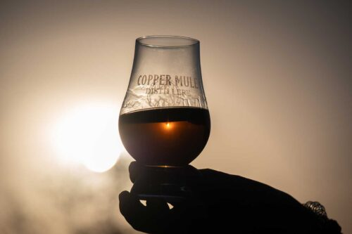 Whiskey Glass at Sunset